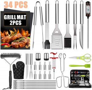 34PC Stainless Steel Grill Accessories Set