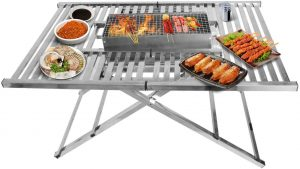 Portable BBQ Charcoal Grill Folding Table