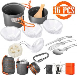 Limechoes 16 Pcs Camping Cookware Set