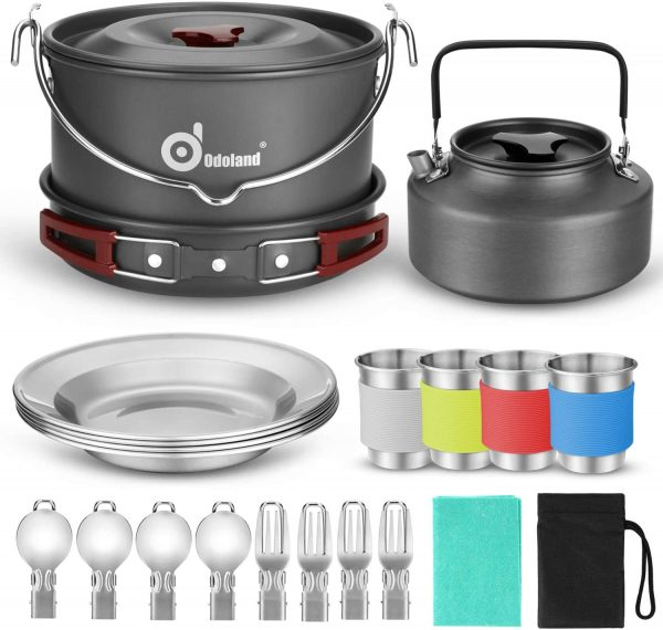 Odoland 22pcs Camping Cookware Mess Kit