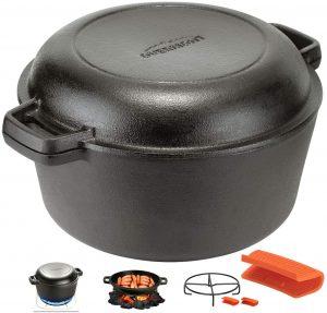 Overmont 5Qt Cast Iron Casserole Pot & Lid