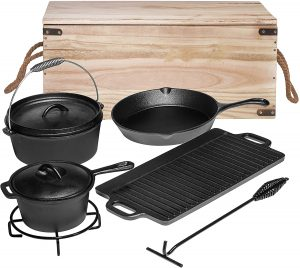 Bruntmor Pre-Seasoned 7 Piece Heavy Duty Cast Iron Dutch Oven Camping Cooking Set with Vintage Carrying Storage Box